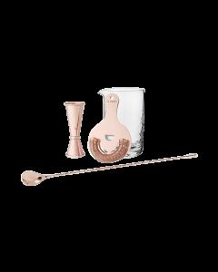 4 Piece Copper mixologist barware set